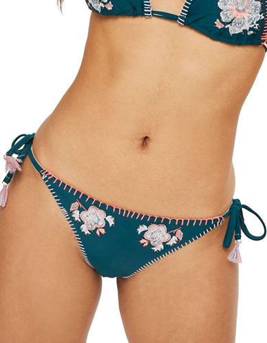 Topshop Floral Embroidered Tieside Bikini Bottoms-GREEN-UK 8/US 4