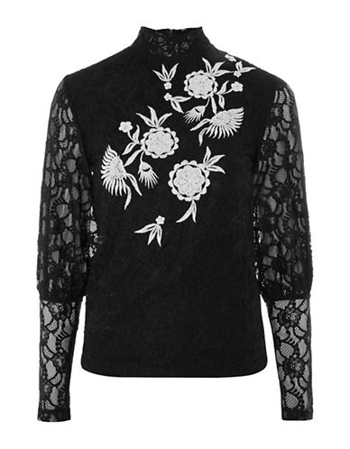 Topshop Embroidered Lace Blouson Sleeve Top-BLACK-UK 14/US 10