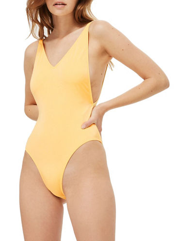 Topshop Pamela Solid One-Piece Swimsuit-LIGHT YELLOW-UK 10/US 6