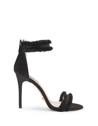 Topshop Riley Fringe Two-Part Sandals-BLACK-EU 40/US 9.5