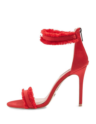 Topshop Riley Fringe Two-Part Sandals-RED-EU 38/US 7.5