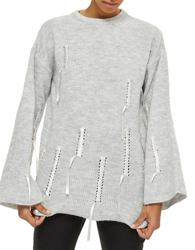 Topshop Ribbed Stretch Pullover-GREY MARL-Large