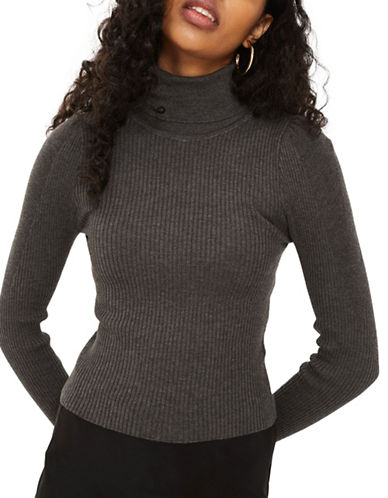 Topshop Puff Sleeve Pullover-CHARCOAL-UK 10/US 6
