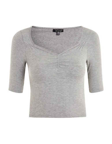Topshop Cropped T-Shirt-GREY-UK 12/US 8