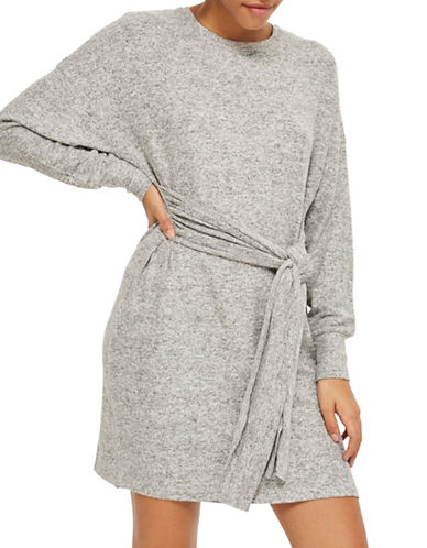 Topshop Cut-and-Sew Sweater Dress-GREY-UK 6/US 2