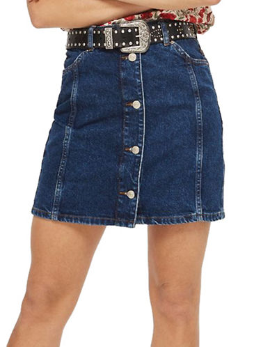 Topshop TALL Button-Through Mini Skirt-MID DENIM-UK 8/US 4