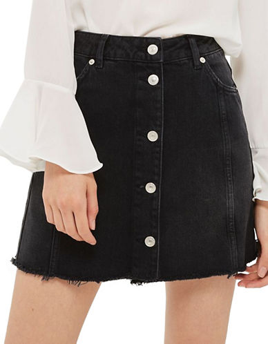 Topshop TALL Button-Up Mini Skirt-WASHED BLACK-UK 16/US 12
