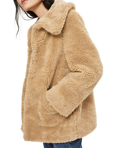 Topshop Lucy Teddy Bear Faux Fur Jacket-CAMEL-UK 12/US 8