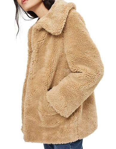 Topshop Lucy Teddy Bear Faux Fur Jacket-CAMEL-UK 10/US 6
