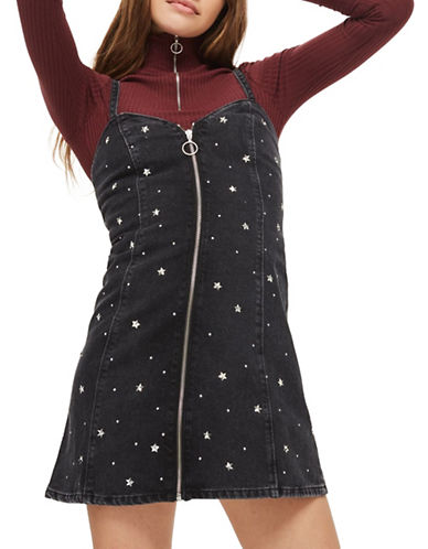 Topshop MOTO Star Stud Pinafore Dress-WASHED BLACK-UK 10/US 6