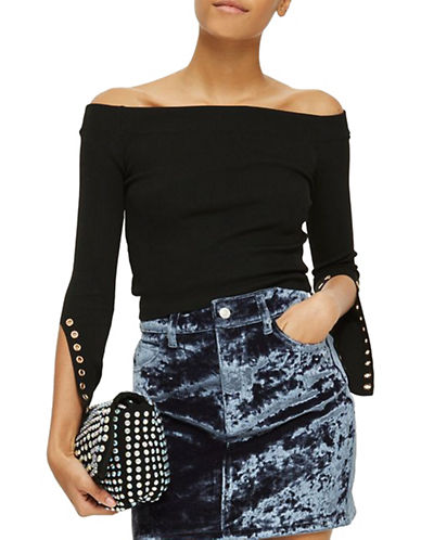 Topshop Eyelet-Sleeve Bardot Top-BLACK-UK 6/US 2