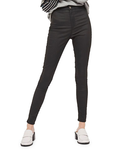 Topshop TALL Coated Joni Jeans-BLACK-32X36