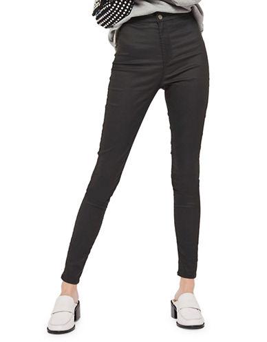 Topshop TALL Coated Joni Jeans-BLACK-30X36