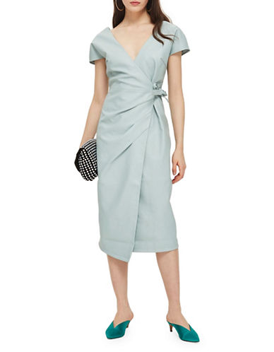 Topshop Midi Length Wrap Dress-MINT-UK 6/US 2