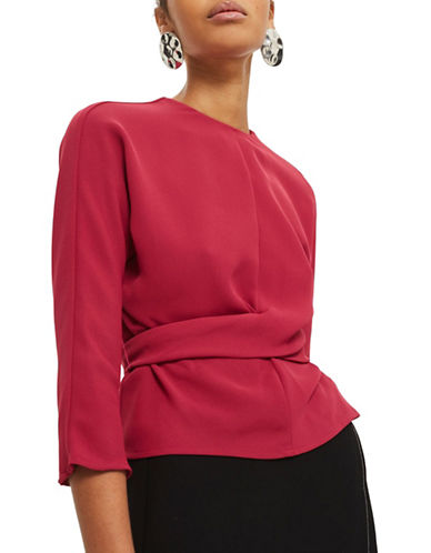 Topshop Tie-Wrap Twist Top-RED-UK 6/US 2