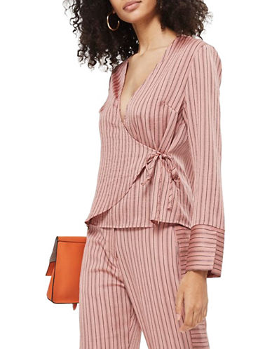 Topshop Slinky Striped Wrap Blouse-BLUSH-UK 12/US 8