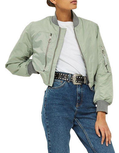 Topshop PETITE Pocket Detail Bomber Jacket-GREEN-UK 10/US 6