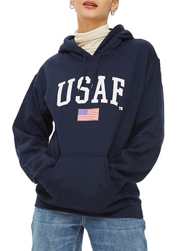 Topshop USA Logo Hoodie by Tee and Cake-NAVY BLUE-Medium