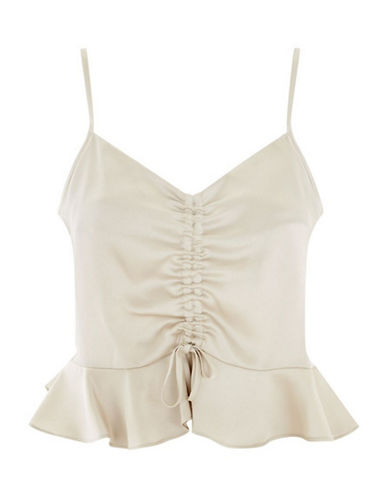 Topshop Satin Ruched Cami-CREAM-UK 14/US 10