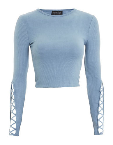 Topshop Lattice Sleeve Ribbed Cropped Top-BLUE-UK 4/US 0