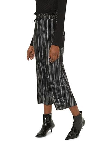Topshop PETITE Metallic Striped Plisse Trousers-BLACK-UK 4/US 0