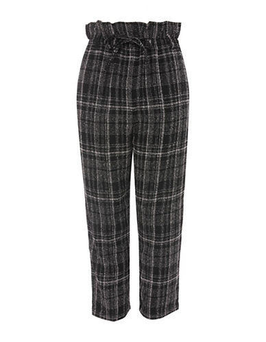 Topshop Frill Paper Bag Checked Trousers-MONOCHROME-UK 8/US 4