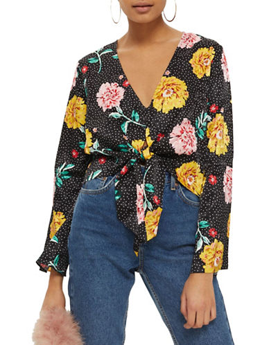 Topshop Floral Spotted Jacquard Top-BLACK-UK 12/US 8