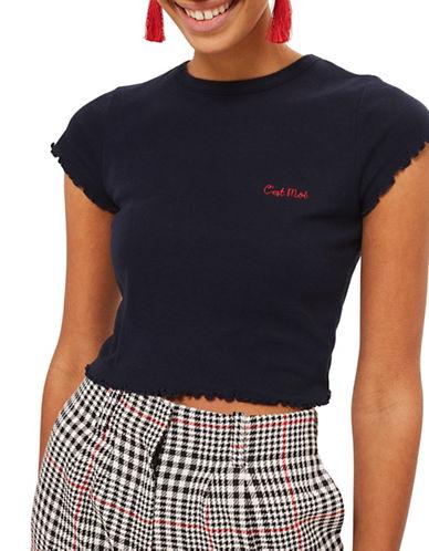Topshop Cest Moi Lettuce  Shirt-NAVY-UK 8/US 4