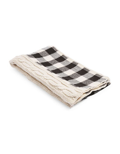 Topshop Checked Cable Knit Scarf-CREAM-One Size