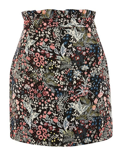 Topshop Woodland Jacquard Mini Skirt-BLACK-UK 12/US 8
