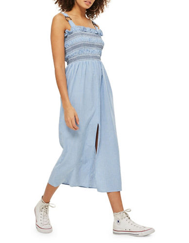 Topshop Chambray Striped Midi Shift Dress-LIGHT DENIM-UK 12/US 8