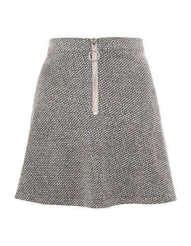 Topshop Salt-and-Pepper Peplum Hem Mini Skirt-GREY-UK 6/US 2