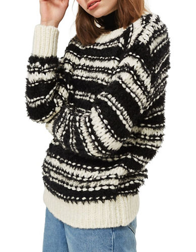 Topshop Mohair Chunky Striped Sweater-MONOCHROME-UK 10/US 6
