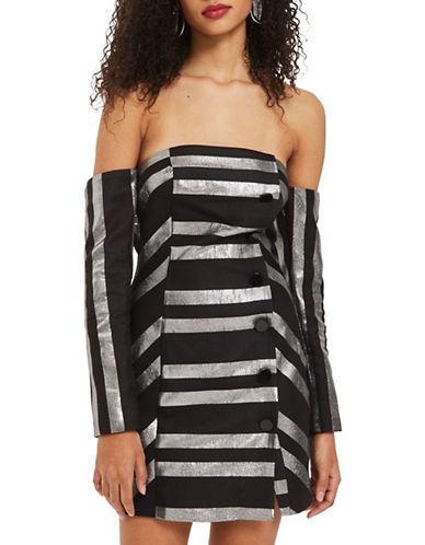 Topshop Striped Bardot Mini Dress-MONOCHROME-UK 10/US 6