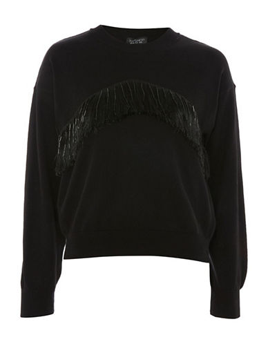 Topshop Beaded Tassle Sweater-BLACK-UK 6/US 2