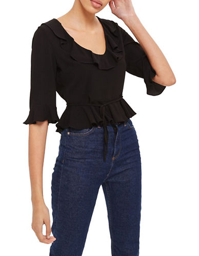 Topshop Frill Detail Blouse-BLACK-UK 12/US 8