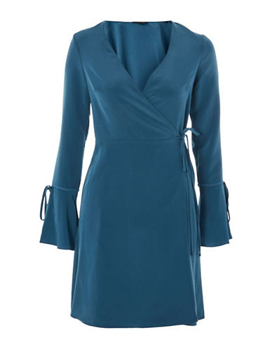 Topshop PETITE Tie-Sleeve Wrap Dress-MID DENIM-UK 4/US 0