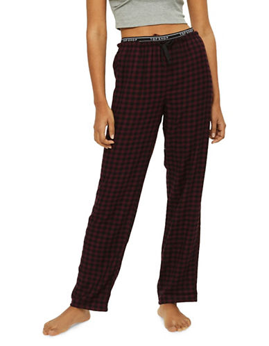 Topshop Branded Checked Trousers-BURGUNDY-UK 6/US 2