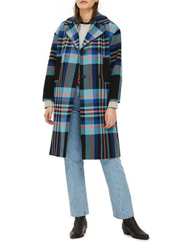 Topshop Bright Checked Coat-BLUE-UK 12/US 8
