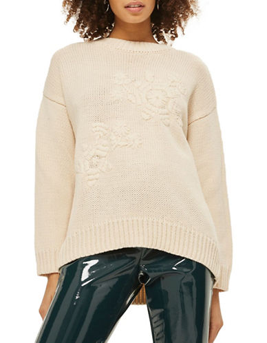 Topshop Tonal Embroidered Sweater-CREAM-Small