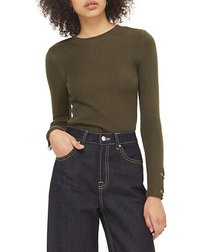 Topshop PETITE Ring Detail Crop Top-KHAKI-UK 4/US 0