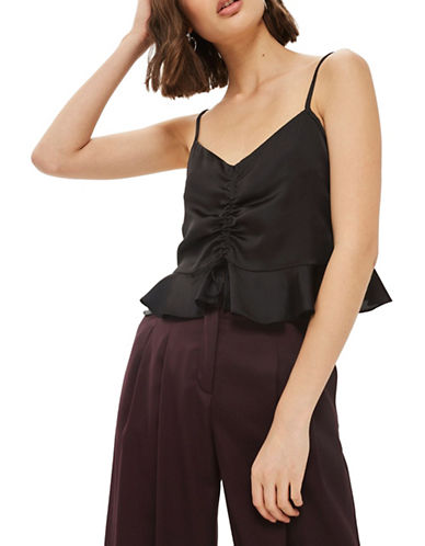 Topshop Satin Ruched Camisole Top-BLACK-UK 14/US 10