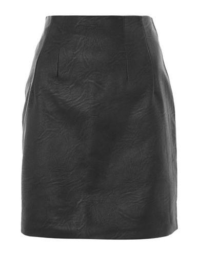Topshop PETITE Mini Faux Leather Pencil Skirt-BLACK-UK 10/US 6