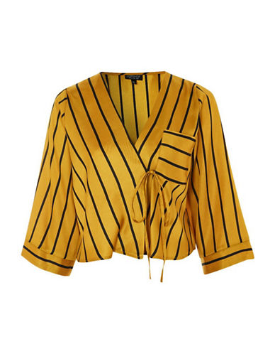 Topshop Stripe Tie Wrap Top-MUSTARD-UK 8/US 4