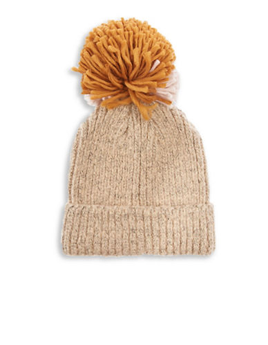 Topshop Mixed Big Pom Pom Knit Beanie-BEIGE-One Size