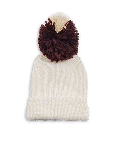 Topshop Mixed Big Pom Pom Knit Beanie-IVORY-One Size