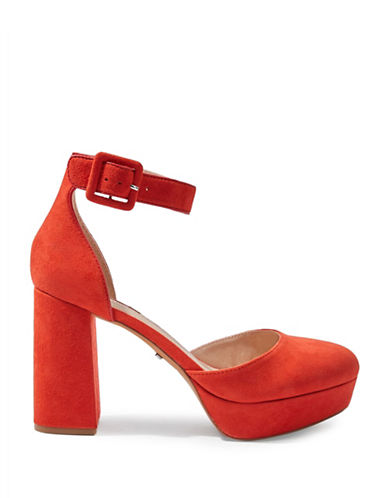 Topshop Sadie Closed Toe Platforms-RED-EU 36/US 5.5