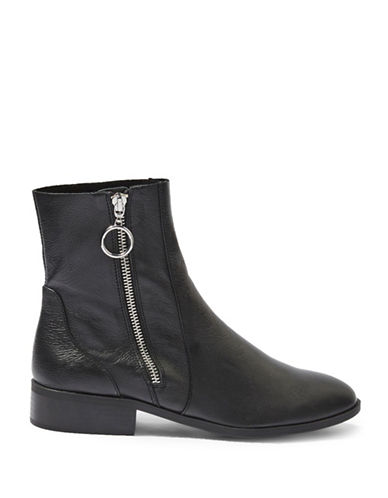 Topshop Kick Leather Ankle Boots-BLACK-EU 37/US 6.5