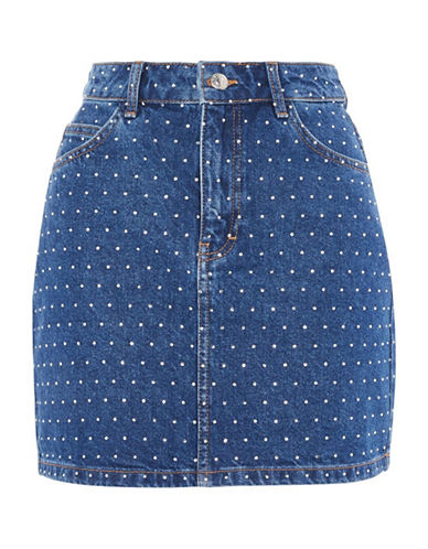 Topshop Mini Crystal Denim Skirt-MID DENIM-UK 14/US 10