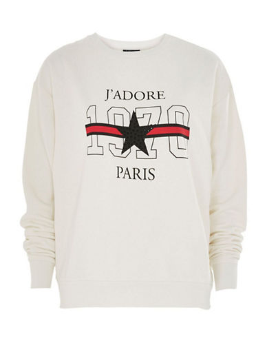 Topshop PETITE Jadore Logo Sweatshirt-CREAM-UK 12/US 8